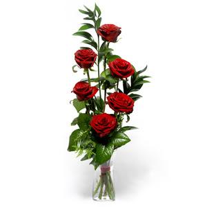Tokat çiçekçi telefonları  mika yada cam vazoda 6 adet essiz gül