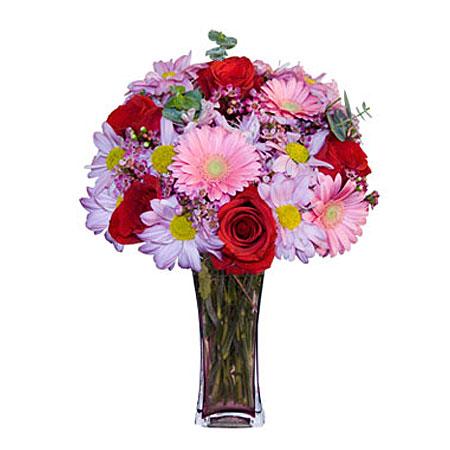 Görsel hediye karisik cam mevsim demeti  Tokat kaliteli taze ve ucuz çiçekler