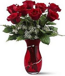 Vazo içinde 8 adet kirmizilar içinde güller  Tokat çiçek yolla , çiçek gönder , çiçekçi