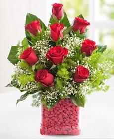 Cam içerisinde 9 adet kırmızı gül  Tokat yurtiçi ve yurtdışı çiçek siparişi