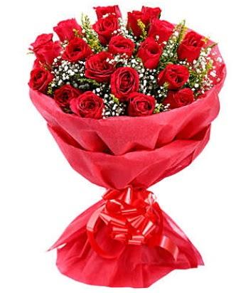 21 adet kırmızı gülden modern buket  Tokat 14 şubat sevgililer günü çiçek