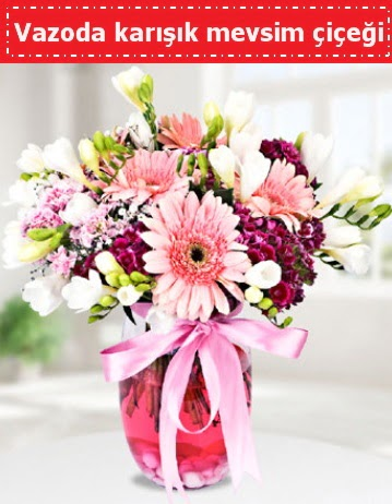 Vazoda karışık mevsim çiçeği  Tokat çiçek online çiçek siparişi