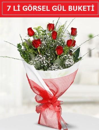 7 adet kırmızı gül buketi Aşk budur  Tokat hediye sevgilime hediye çiçek