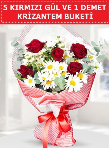 5 adet kırmızı gül ve krizantem buketi  Tokat hediye sevgilime hediye çiçek