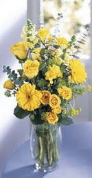 Tokat çiçek gönderme sitemiz güvenlidir  sari güller ve gerbera cam yada mika vazo