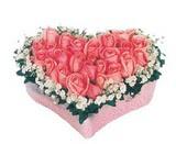 kalp içerisinde 9 adet pembe gül  Tokat hediye sevgilime hediye çiçek