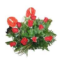 9 adet kirmizi gül ve antorium   Tokat çiçek gönderme