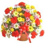 karisik renkli çiçek sepet   Tokat cicekciler , cicek siparisi