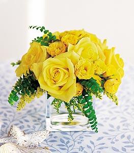 Tokat çiçek gönderme  cam içerisinde 12 adet sari gül