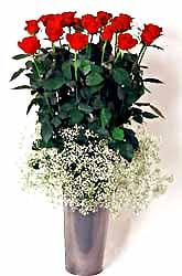 Tokat çiçek yolla  9 adet kirmizi gül cam yada mika vazoda