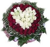 Tokat çiçek siparişi sitesi  27 adet kirmizi ve beyaz gül sepet içinde