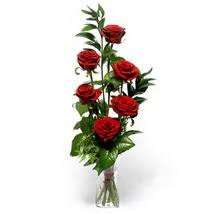 Tokat güvenli kaliteli hızlı çiçek  cam yada mika vazo içerisinde 6 adet kirmizi gül