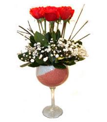 Tokat online çiçekçi , çiçek siparişi  cam kadeh içinde 7 adet kirmizi gül çiçek