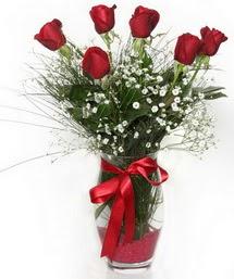 7 adet gülden cam içerisinde güller  Tokat çiçek satışı
