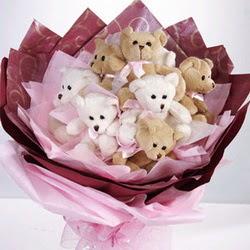9 adet ayiciktan buket  Tokat çiçek yolla , çiçek gönder , çiçekçi