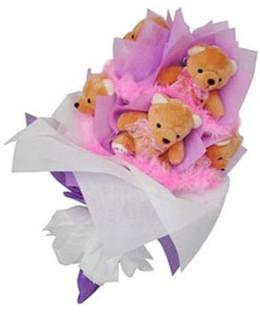 9 adet ayiciktan buket  Tokat ucuz çiçek gönder
