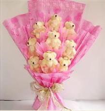 9 adet pelus ayicik buketi  Tokat çiçek , çiçekçi , çiçekçilik