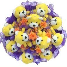 11 adet pelus ayicik buketi  Tokat çiçek siparişi sitesi
