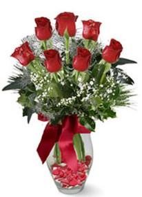 Tokat çiçek yolla , çiçek gönder , çiçekçi   7 adet kirmizi gül cam vazo yada mika vazoda