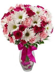 Tokat güvenli kaliteli hızlı çiçek  Karisik mevsim kir çiçegi vazosu