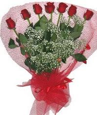 7 adet kipkirmizi gülden görsel buket  Tokat çiçek siparişi sitesi