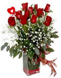 Tokat İnternetten çiçek siparişi  9 adet mika yada cam vazoda gül tanzimi kalp çubuk