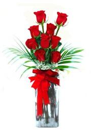 Tokat anneler günü çiçek yolla  9 adet mika yada cam vazoda gül tanzimi