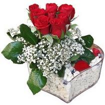 Tokat çiçekçiler  kalp mika içerisinde 7 adet kirmizi gül