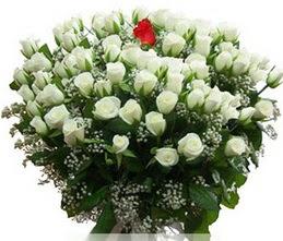 Tokat yurtiçi ve yurtdışı çiçek siparişi  100 adet beyaz 1 adet kirmizi gül buketi