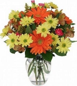 Tokat ucuz çiçek gönder  vazo içerisinde karışık mevsim çiçekleri