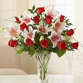 Tokat çiçek siparişi sitesi  12 adet kırmızı gül 1 dal kazablanka çiçeği