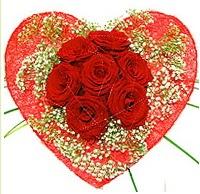 Mika kalp içerisinde 7 adet kırmızı gül  Tokat kaliteli taze ve ucuz çiçekler