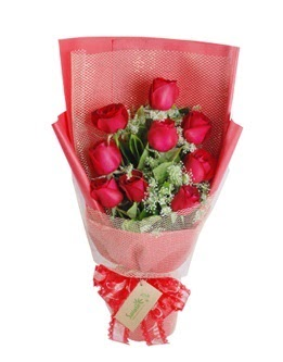 9 adet kırmızı gülden görsel buket  Tokat çiçek servisi , çiçekçi adresleri