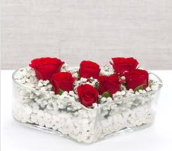 kalp içerisinde 7 adet kırmızı gül  Tokat İnternetten çiçek siparişi