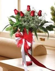 Camda 5 kırmızı gül tanzimi  Tokat anneler günü çiçek yolla