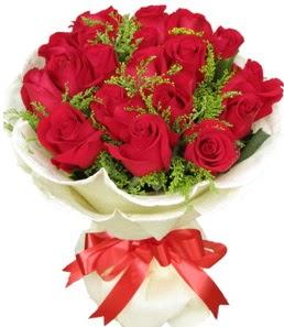 19 adet kırmızı gülden buket tanzimi  Tokat çiçekçi mağazası