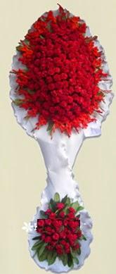 Çift katlı kıpkırmızı düğün açılış çiçeği  Tokat çiçek , çiçekçi , çiçekçilik