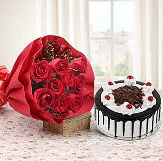 12 adet kırmızı gül 4 kişilik yaş pasta  Tokat çiçek online çiçek siparişi