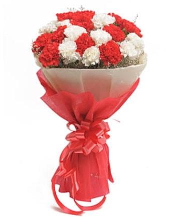 21 adet kırmızı beyaz karanfil buketi  Tokat hediye sevgilime hediye çiçek