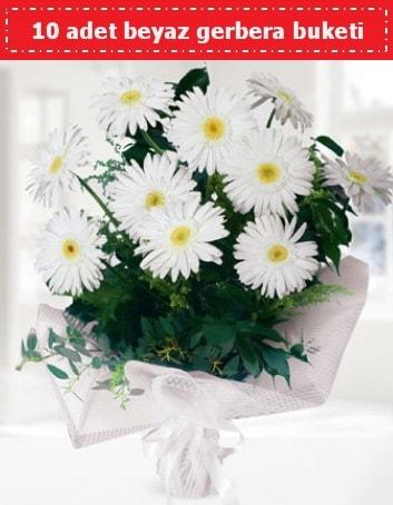 10 Adet beyaz gerbera buketi  Tokat çiçek online çiçek siparişi