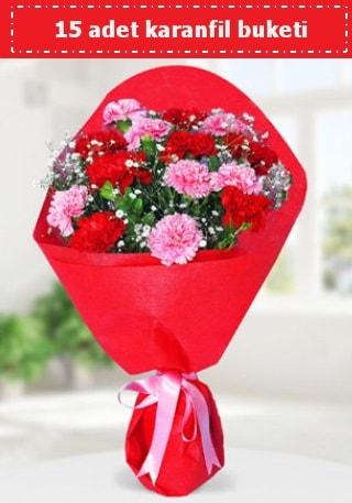 15 adet karanfilden hazırlanmış buket  Tokat çiçek gönderme