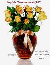 Tokat yurtiçi ve yurtdışı çiçek siparişi  mika yada Cam vazoda 12 adet sari gül